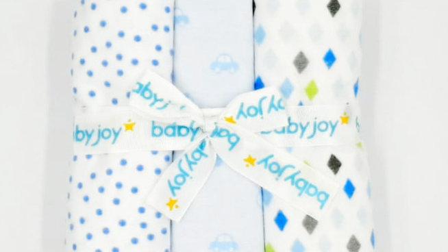 Kit manta flanelada com 3 unidades BabyJoy