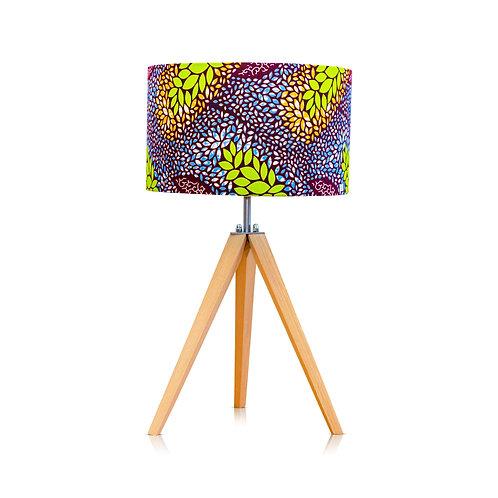 Lampe trépied bois avec abat-jour imprimé wax - Smile Tabou