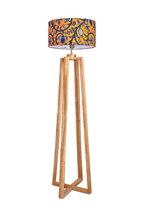 Lampadaire de salon avec abat-jour cylindrique wax orange - Yaline