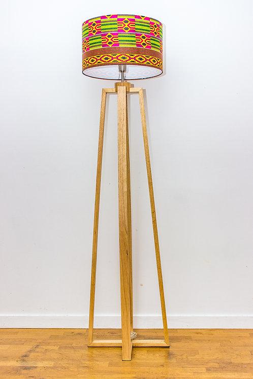 Lampadaire pied bois avec abat-jour design imprimé wax kenté - Nayoé #5