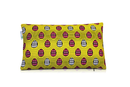 Coussin wax rectangulaire - jaune 30x50cm Yamine