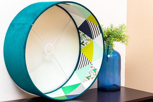 Abat-jour cylindrique | Suspension en velours et imprimé scandinave - Soo Kurudi