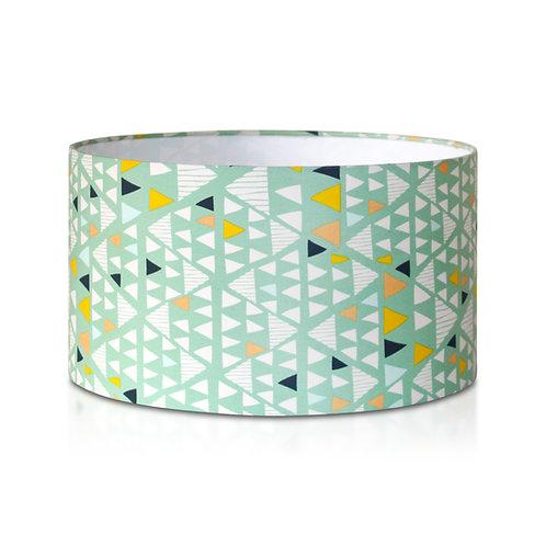 Suspension | Abat-jour cylindrique imprimé scandinave géométrique vert