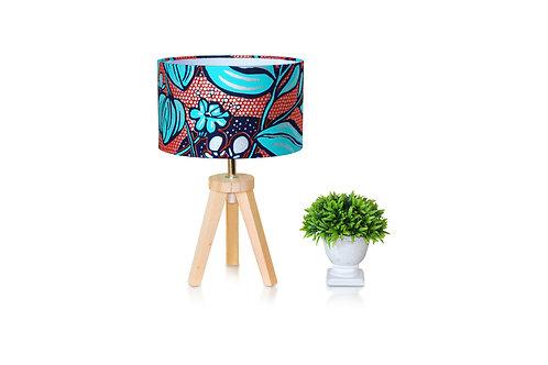 Lampe de chevet bois avec abat-jour wax fleuri -Yanisse