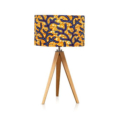 Lampe trépied bois avec abat-jour imprimé wax orange - Assinie
