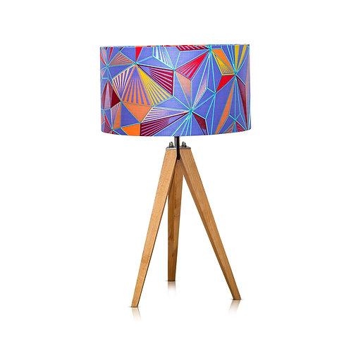 Lampe trépied bois avec abat-jour imprimé wax bleu - Thamani #5
