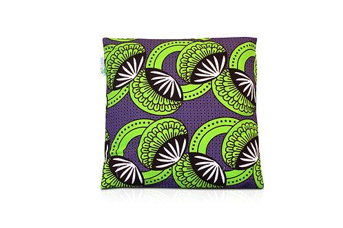 Coussin wax carré- violet et vert 40x40cm Yafoye