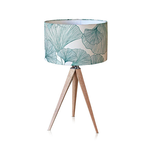 Lampe trépied bois avec abat-jour blanc et vert - Gingko