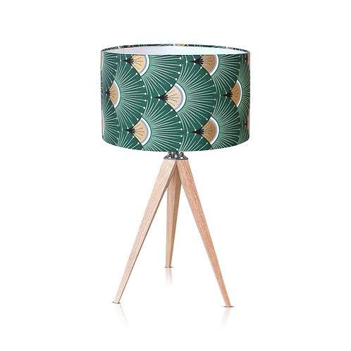 Lampe trépied bois avec abat-jour vert et or - Yaris
