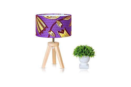 Lampe de chevet bois avec abat-jour tissu wax fleuri violet - Yalice