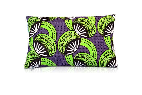 Coussin wax rectangulaire - violet et vert 30x50cm Yafoye