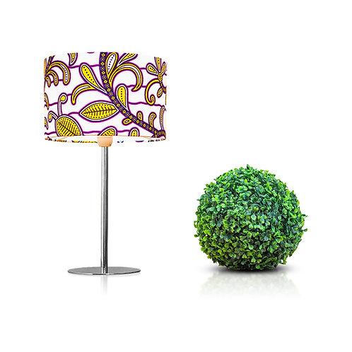 Lampe de chevet design en tissu wax aux motifs fleuris- Kinshasa