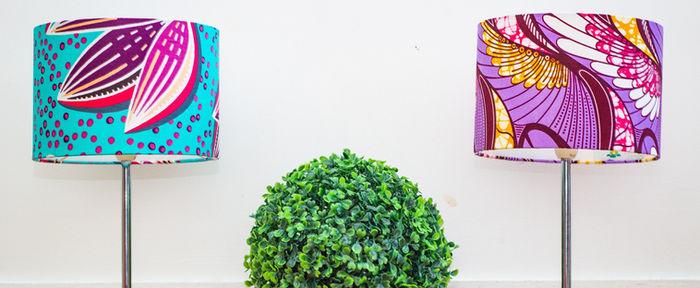 Lampe de chevet en tissu imprimée wax, scandinave et japonais