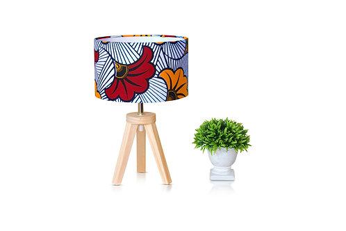 Lampe de chevet bois avec abat-jour rouge wax - Fleur de mariage