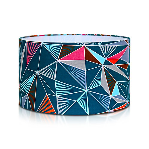 Suspension | Abat-jour cylindrique imprimé wax géométrique bleu marine