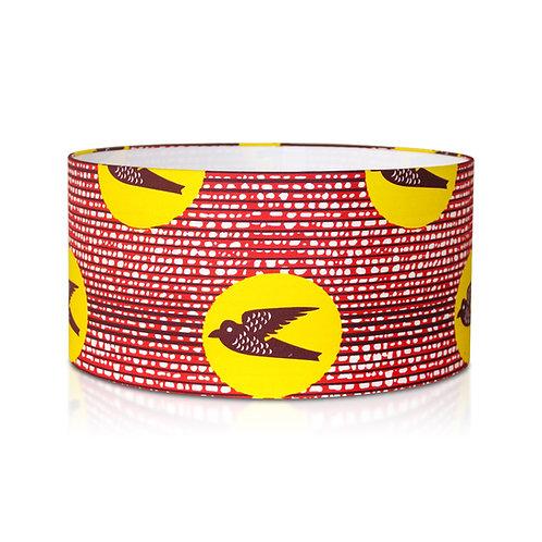 Suspension | Abat-jour cylindrique wax motif oiseau orange jaune