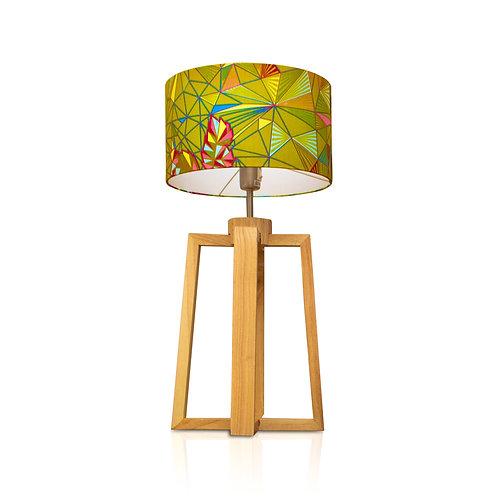 Lampe de table bois avec abat-jour imprimé wax -  Vert de Kurudi