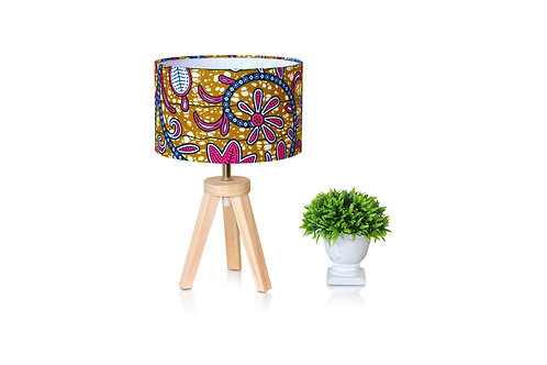 Lampe de chevet bois avec abat-jour imprimé wax fleuri -Yacine
