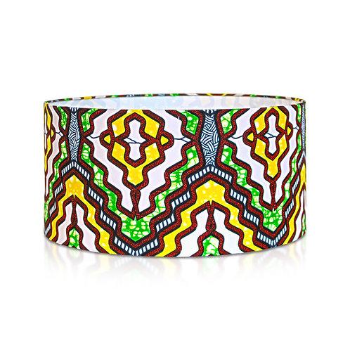 Suspension | Abat-jour cylindrique imprimé wax géométrique jaune et vert