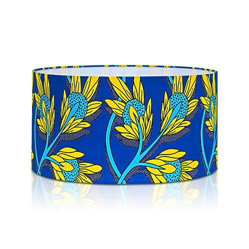 Suspension | Abat-jour cylindrique imprimé wax fleuri bleu et jaune