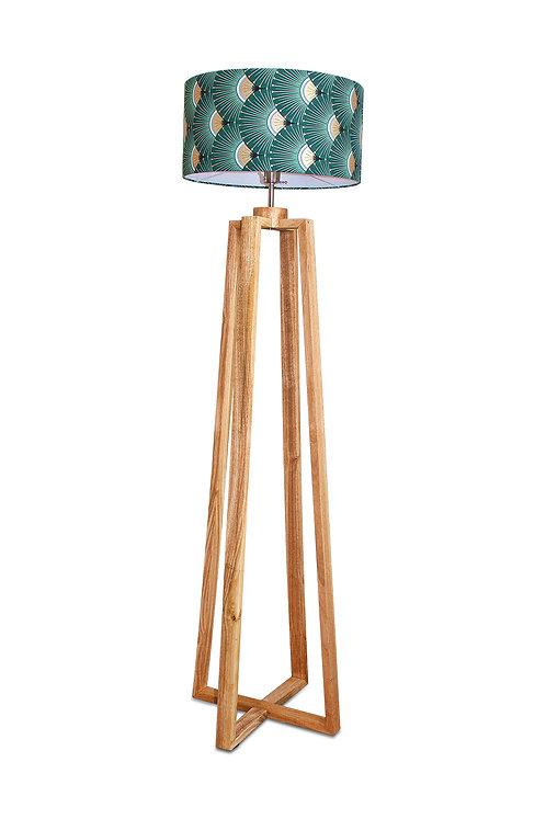 Lampadaire pied bois avec abat-jour imprimé japonais vert et or - Yaris