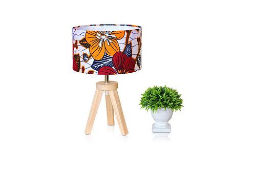 Lampe de chevet bois avec abat-jour rouge en wax fleuri -Yannick