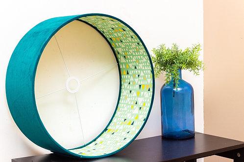 Abat-jour design cylindrique | Suspension en velours et imprimé scandinave Hello Kurudi