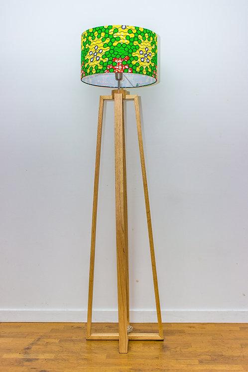 Lampadaire pied bois avec abat-jour vert et jaune imprimé wax - Nayoé #8