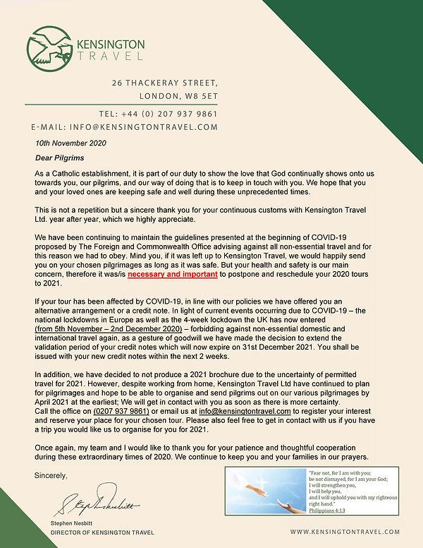 Kensington Travel Letter to pilgrims - N