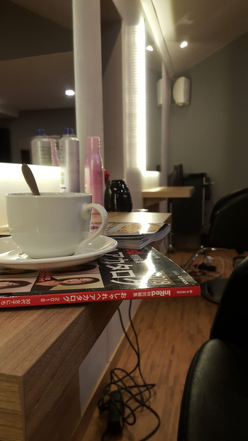 Have a cup of coffee while we work on your hair & nails