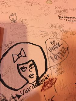 Vicki signing wall Comedy Store