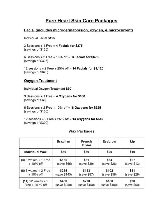 Packages for Facials & Waxing