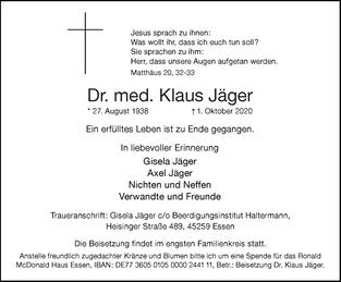 Wir haben Abschied genommen von unserem Ehrenvorsitzenden Dr. med. Klaus Jäger