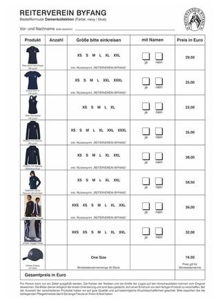 Bestellung RVB Team Kleidung