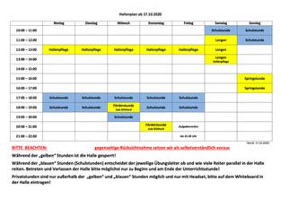 Neuer Hallenplan für die Wintersaison 20/21