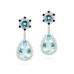 Aquamarine and Black Diamond Detachable