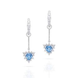 Detachable Aquamarine Hoop Earrings with