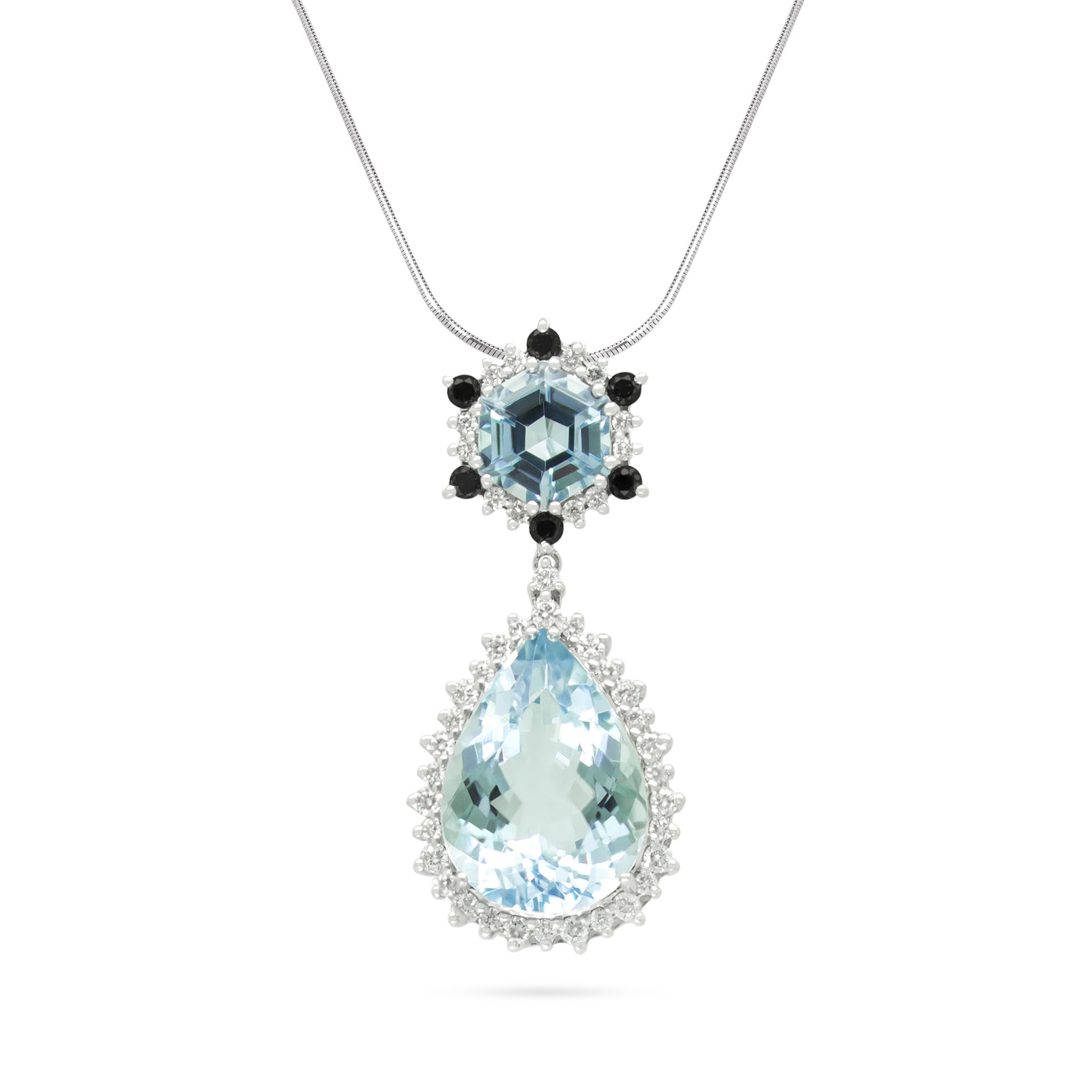 Aquamarine and Black Diamond Pendant