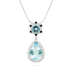 Aquamarine and Black Diamond Pendant