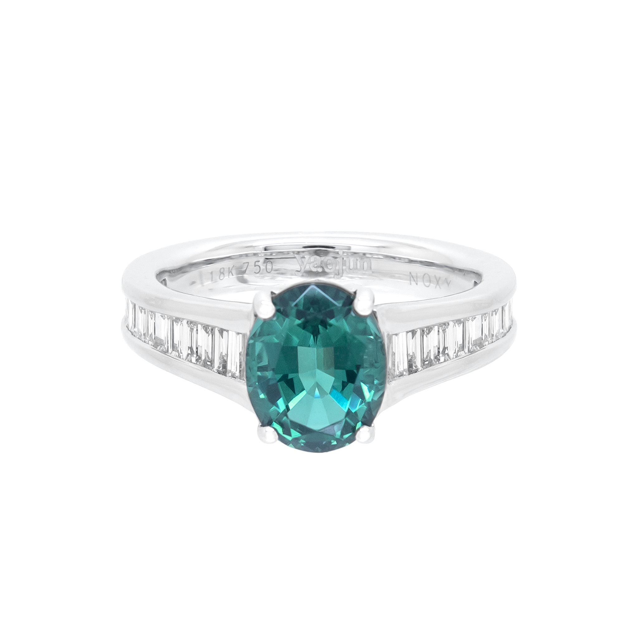 Blue-Green Tourmaline Engagement Ring