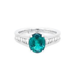 Blue-Green Tourmaline Engagement Ring