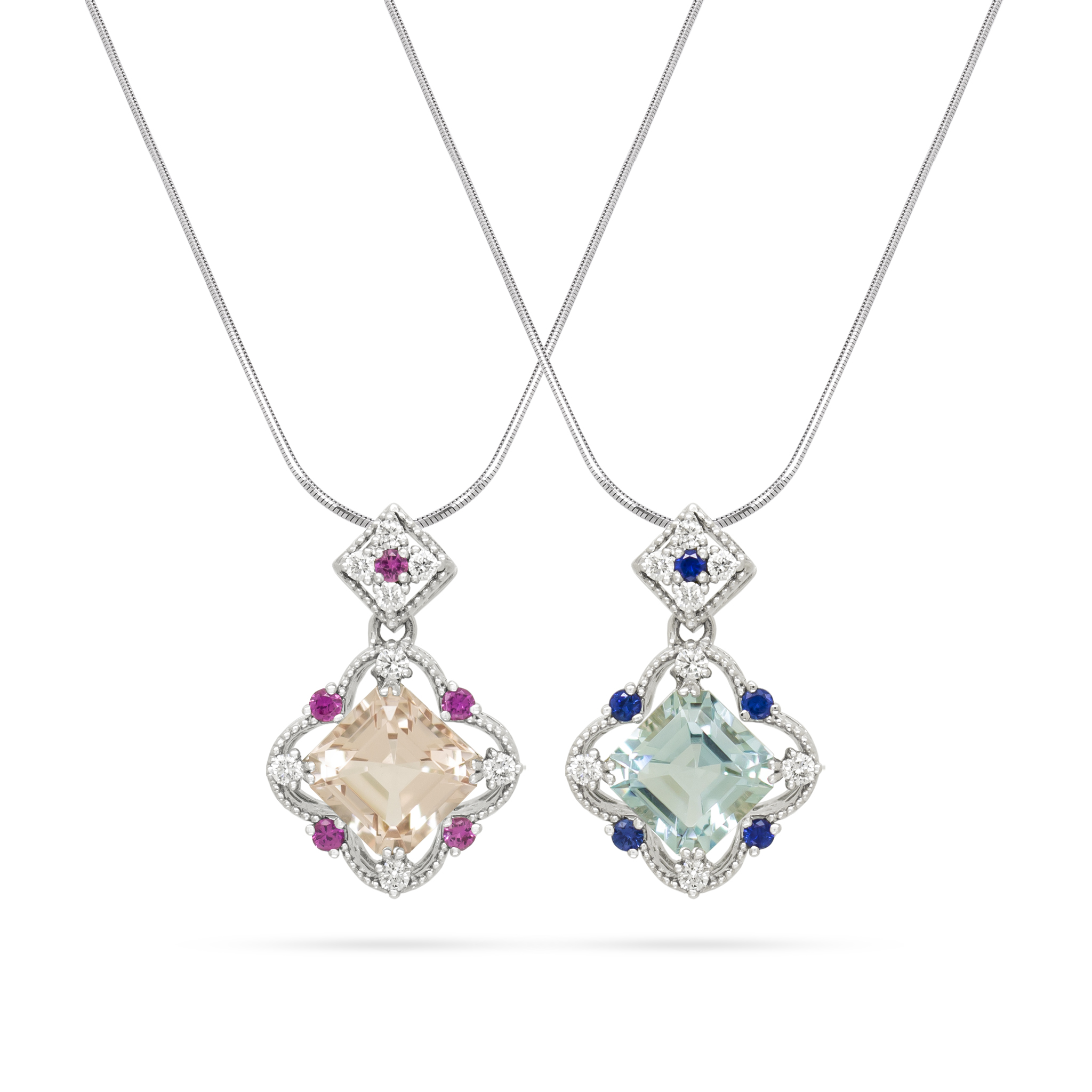 Aqua-Morganite Sisters' Pendants