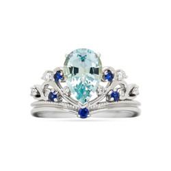 Aquamarine and Sapphire Crown Ring