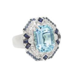 Aquamarine and Blue Sapphire Art Deco-In