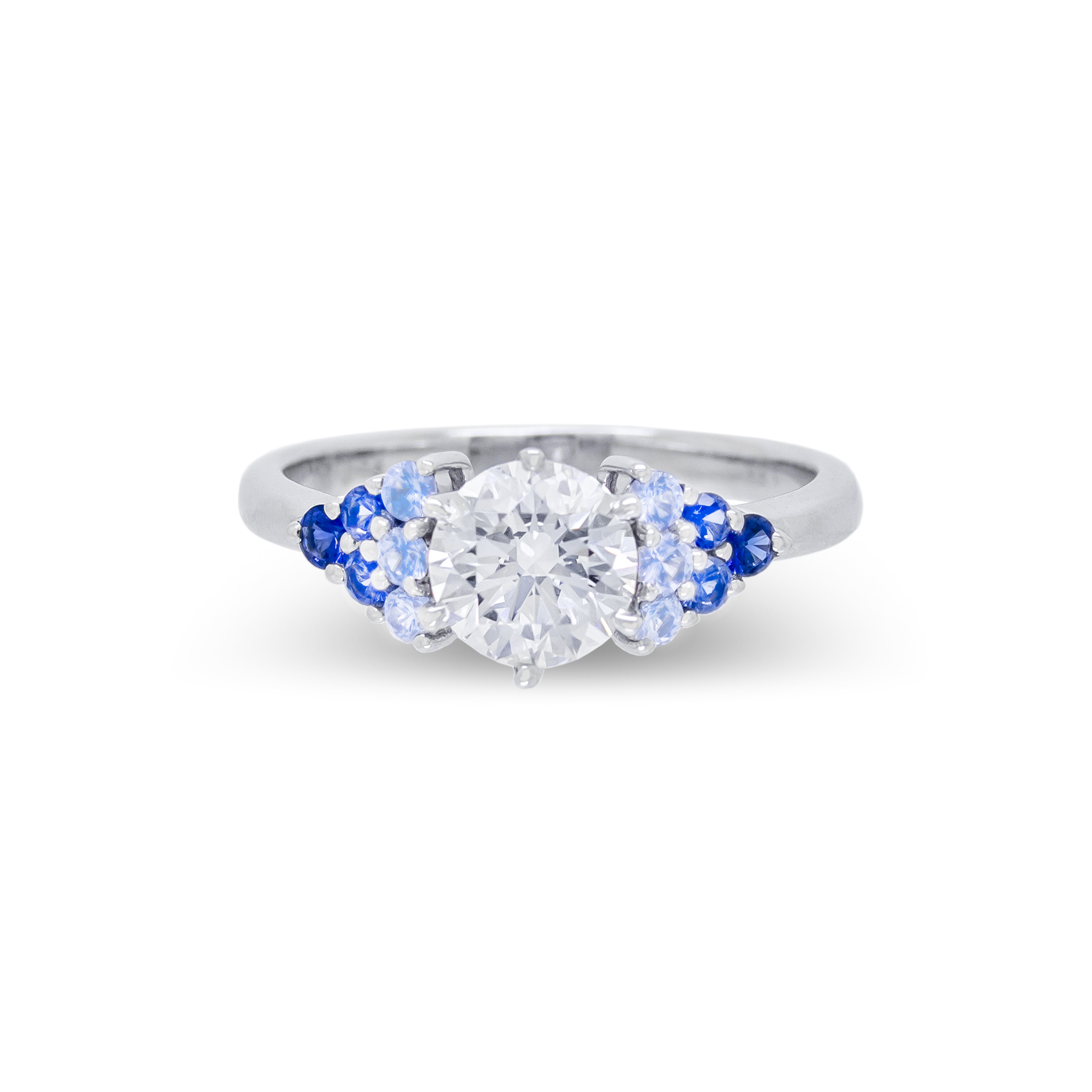 Diamond and Blue Gradient Sapphire Engag