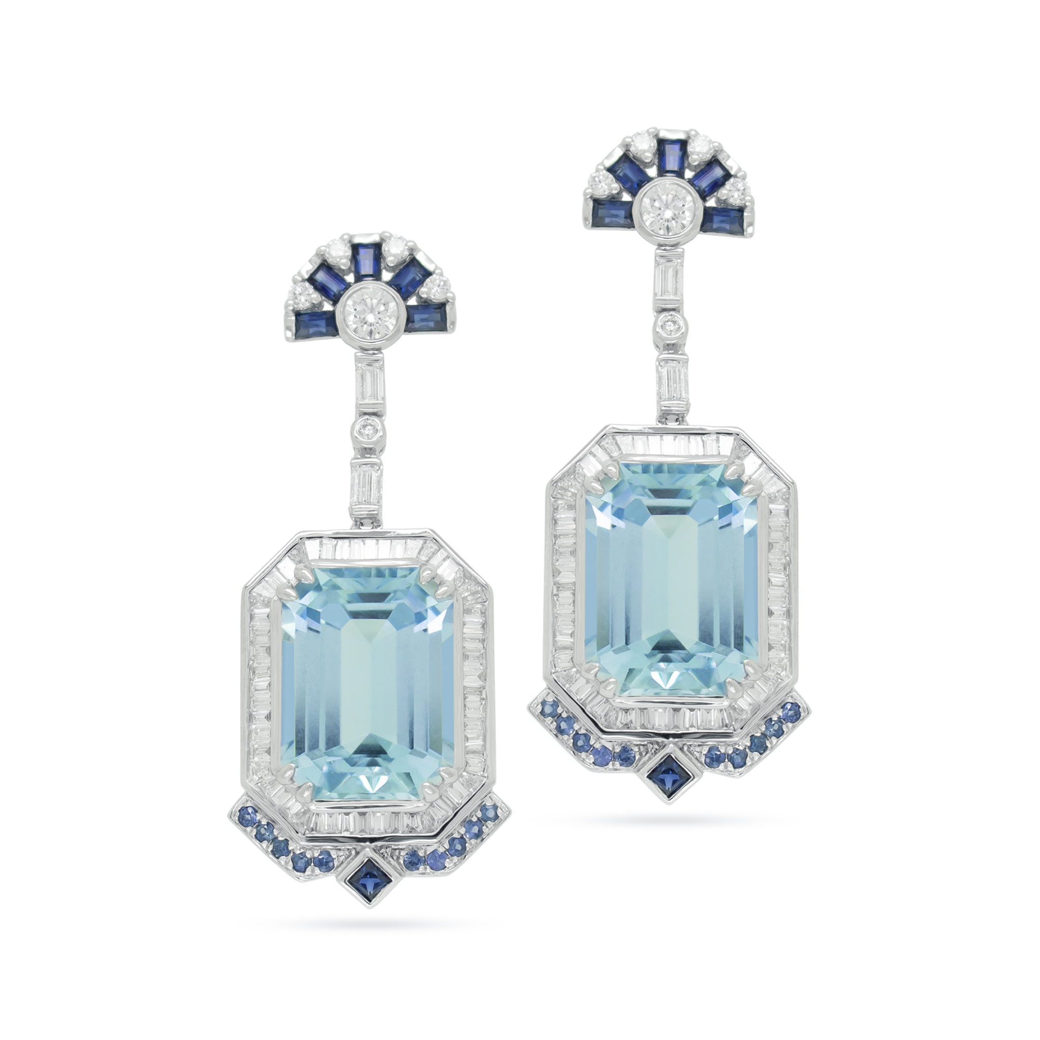 Aquamarine and Blue Sapphire Art Deco-In