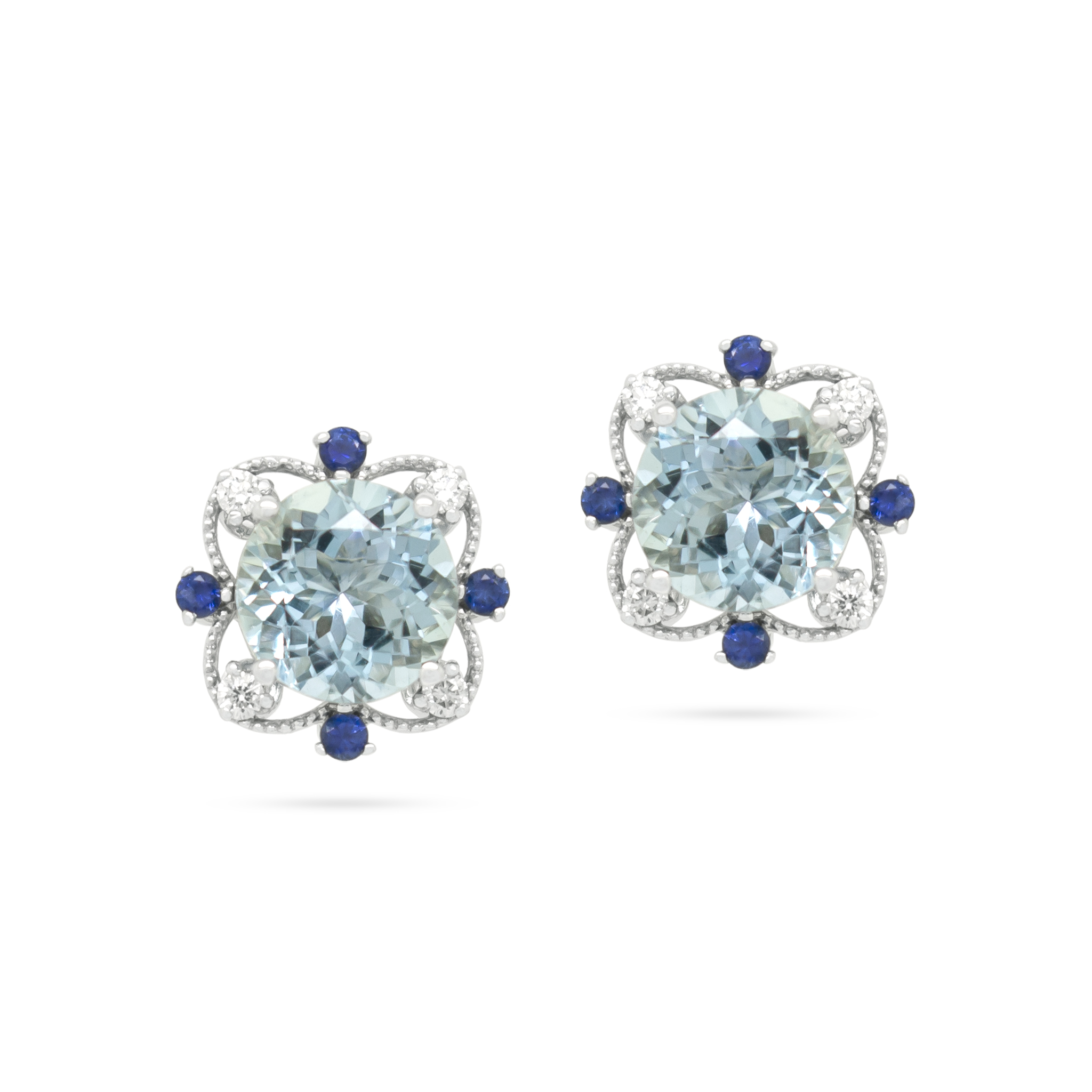 Aquamarine and Sapphire Earstuds