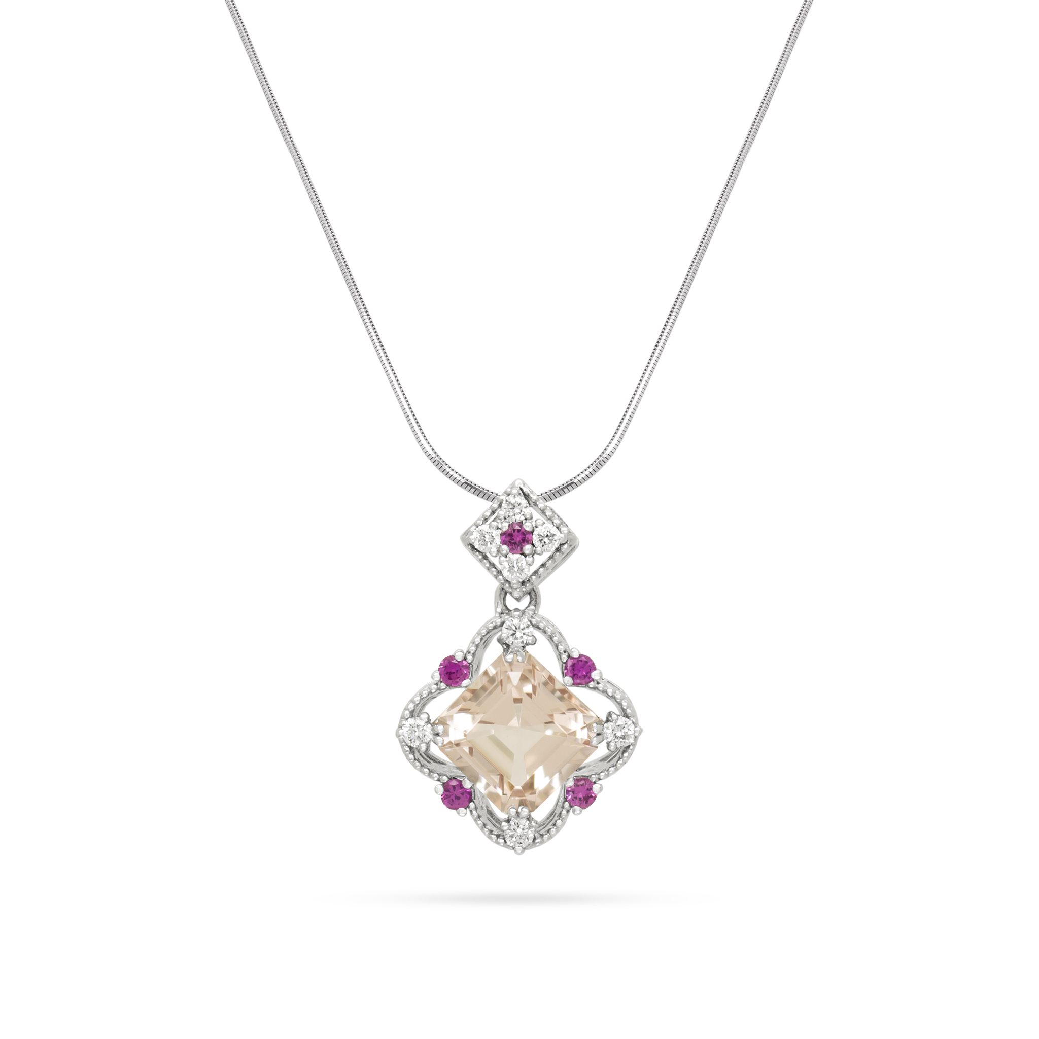 Morganite and Pink Sapphire Pendant