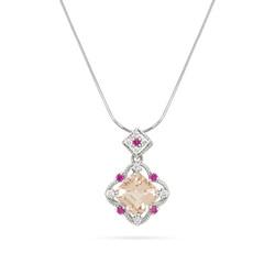 Morganite and Pink Sapphire Pendant
