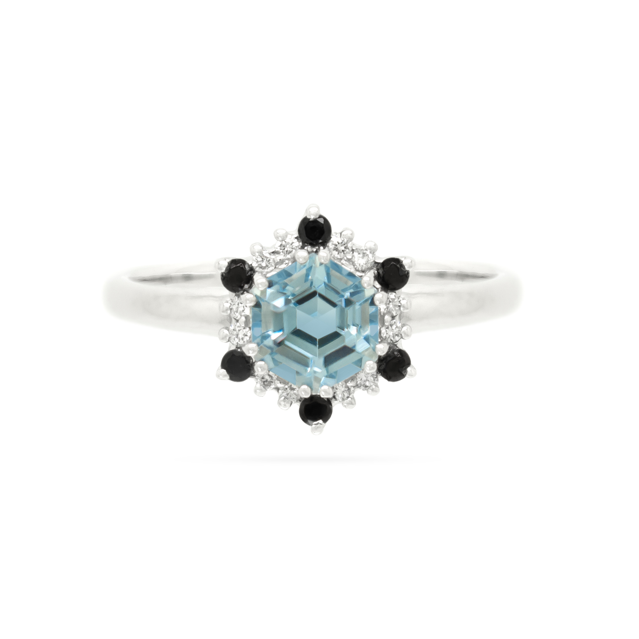 Aquamarine and Black Diamond Ring